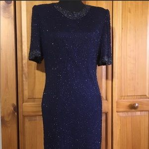 Vintage Laurence Kazar beaded cocktail dress.